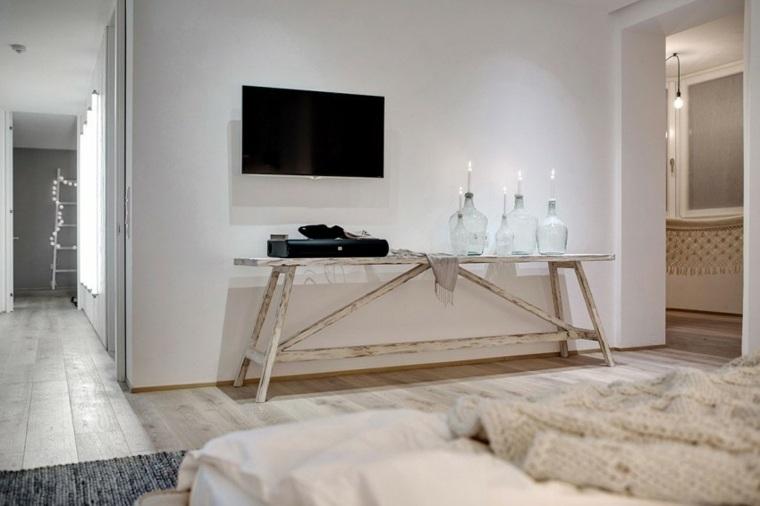 diseno monocromatico dormitorio candelabros originales ideas