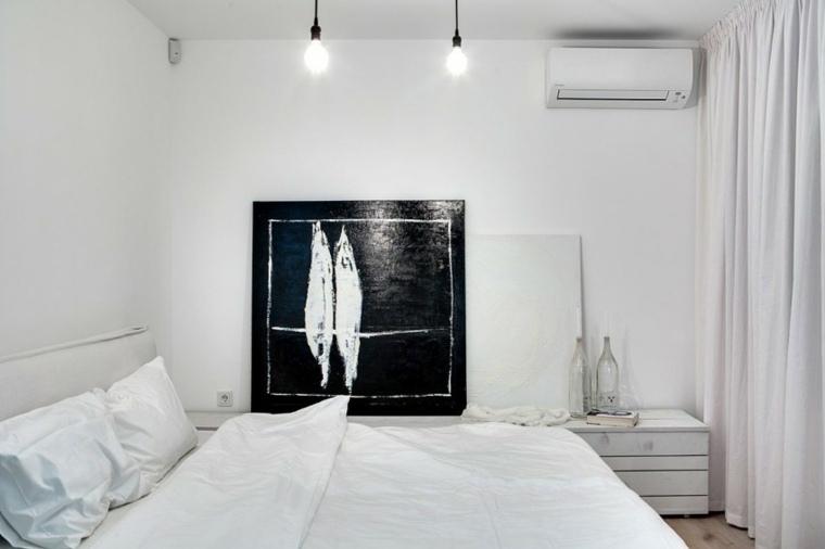 diseno monocromatico dormitorio cuadro decorativo ideas
