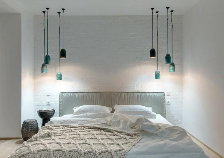 diseno monocromatico dormitorio lamparas colgando techo ideas