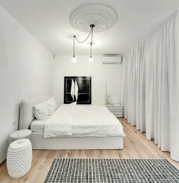 diseno monocromatico dormitorio luminoso blanco ideas