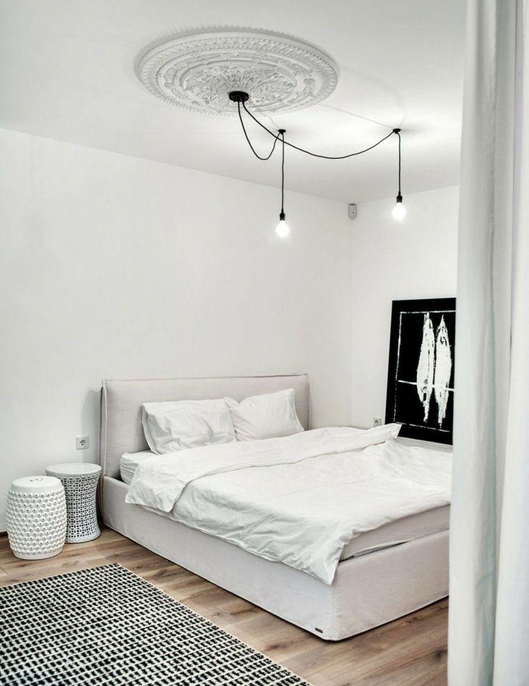 diseno monocromatico dormitorio mesitas noche blancas ideas