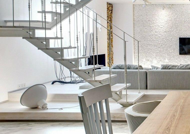 apartamento monocromatico escalera blanca ideas