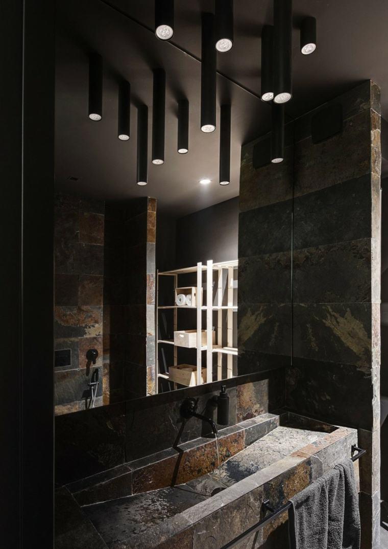 diseno monocromatico-lavabo paredes oscuras ideas