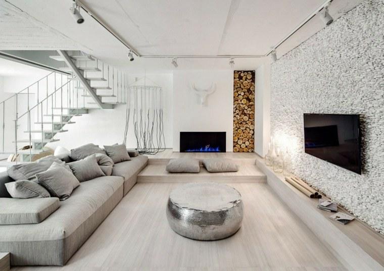 apartamento monocromatico salon sofa gris otoma plata ideas