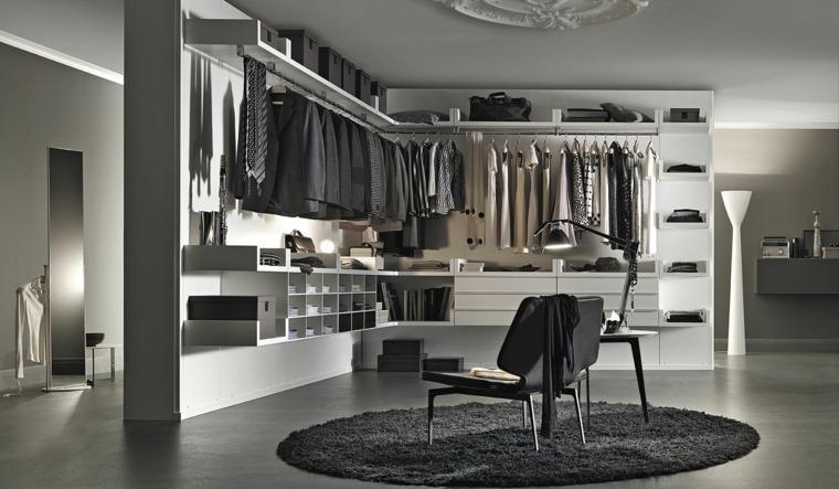 armario sin puertas silla alfombra negra ideas