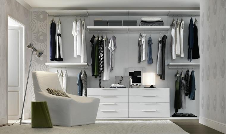armario sin puertas sillon blanco lampara ideas