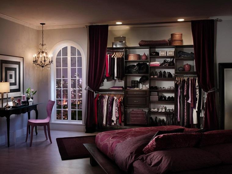 armarios roperos dormitorio cortinas terciopelo ideas
