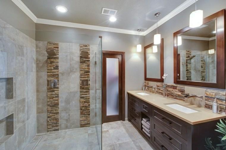 aseos modernos espejos pared losas preciosas ideas