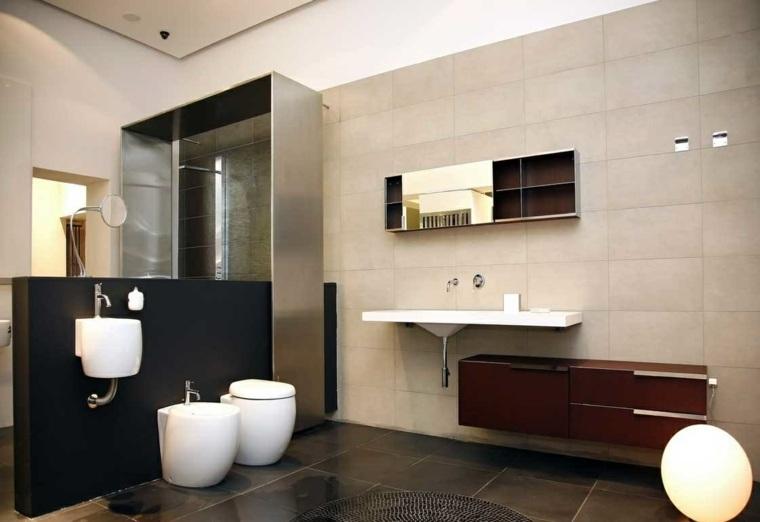 aseos modernos lavabo porcelana lampara ideas