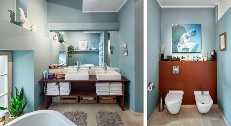 aseos modernos pared azul muebles madera ideas
