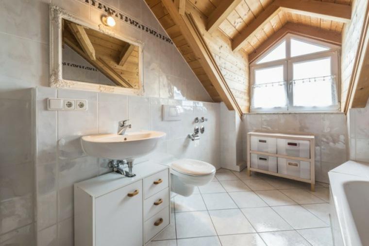 aseos modernos techo abovedado madera ideas