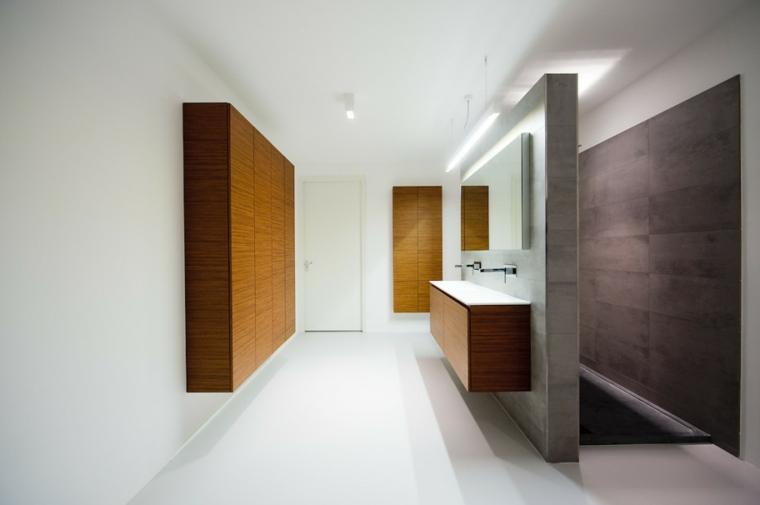 baños minimalistas modernos elementos madera