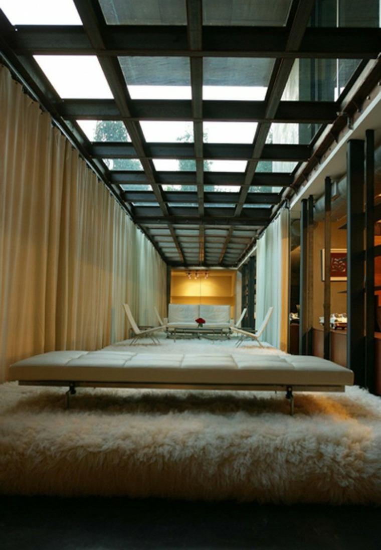 banco blanco cuero salon techo crital ideas