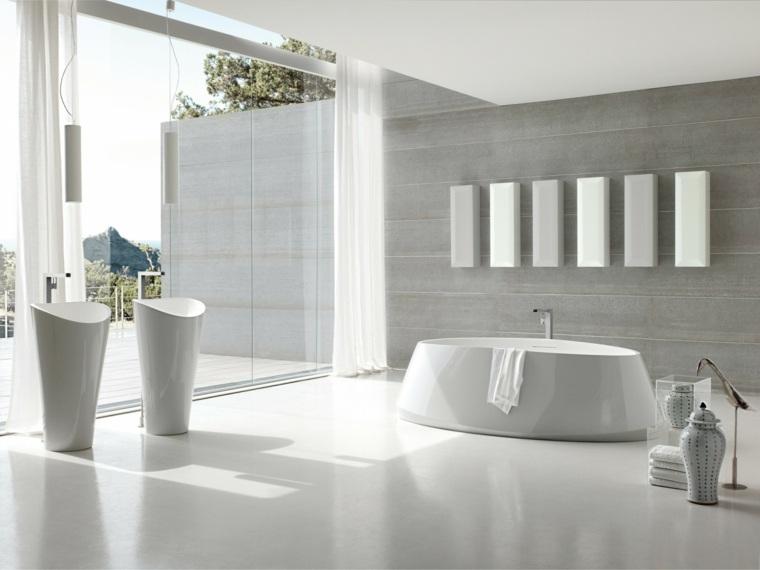 banera blanca lavabos detalles decorativos ideas