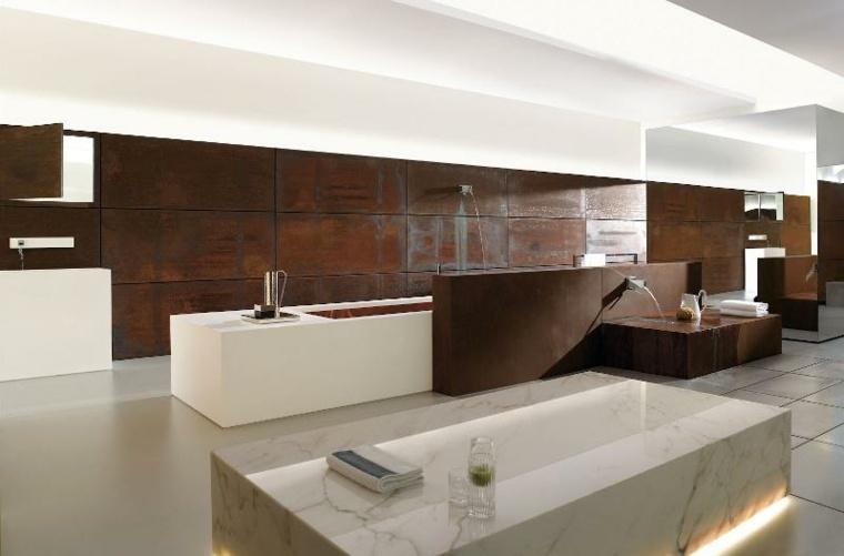 bano amplio moderno banera marmol ideas