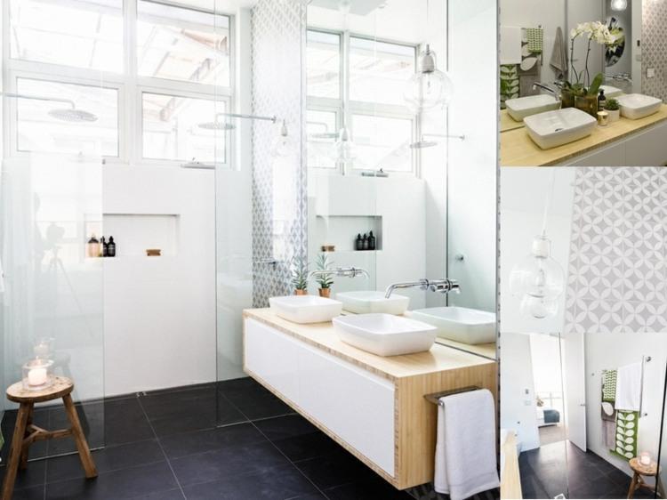 bano ducha lavabo madera losas blancas ideas