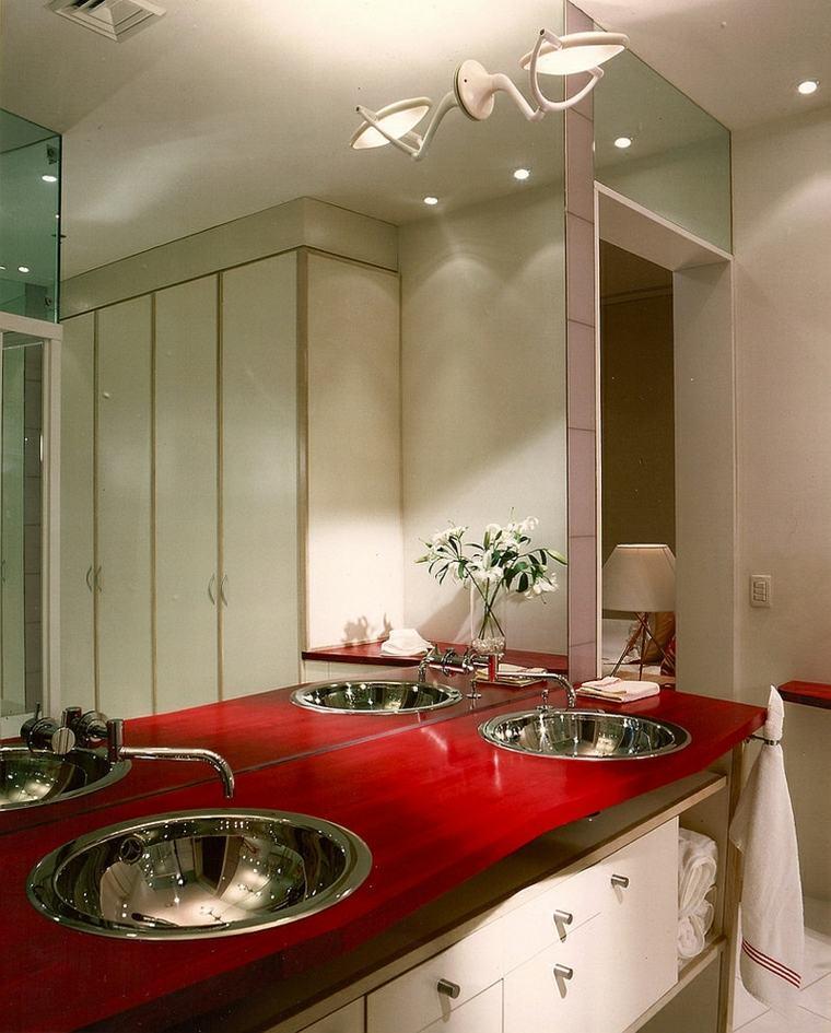 bano lavabo encimeras roja brillantes ideas