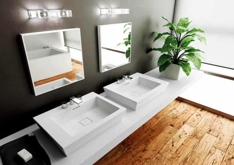 bano moderno dos lavabos blancos suelo madera ideas