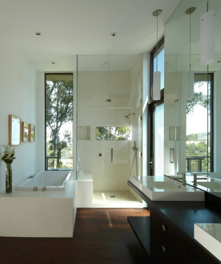 bano moderno lavabo negro cuadros ideas
