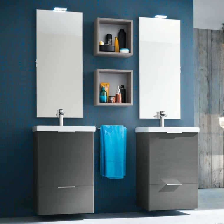 Baños Modernos Azules:bano moderno paredes azules dos lavabos ideas