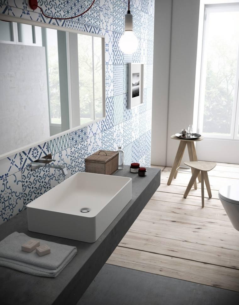 bano moderno taburetes madera lavabo precioso ideas