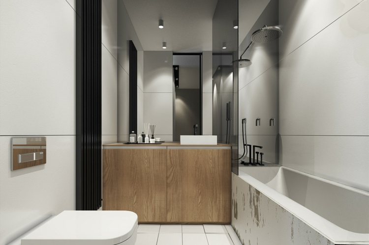 bano pequeno ducha banera lavabo madera ideas