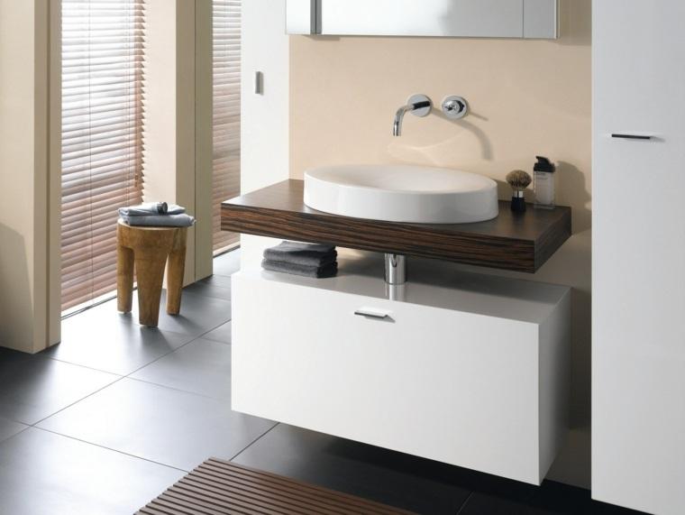 Baños Modernos Beige:bano taburete madera pared beige moderno ideas