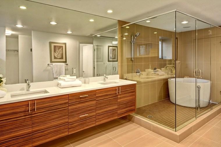 banos diseno original espejo pared grande ideas
