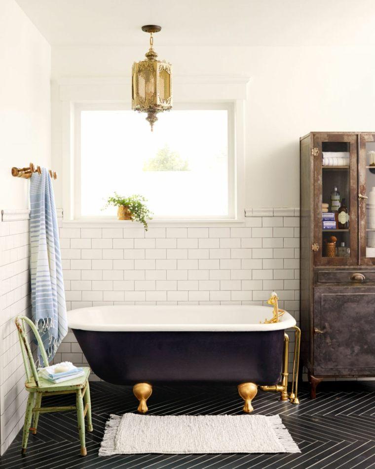 Imagenes De Baño Vintage:baños retro opciones losas blancas banera negra ideas