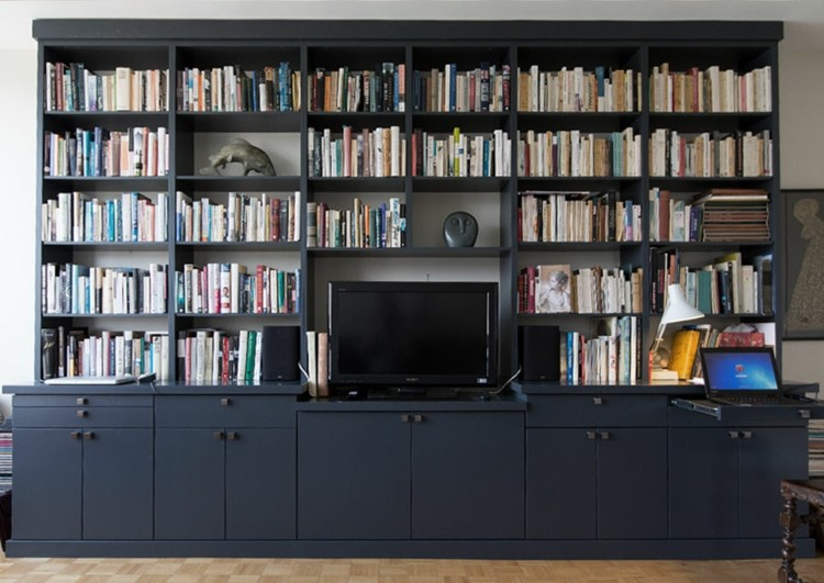 Muebles tv integrados con biblioteca 75 ideas modernas for Muebles de biblioteca