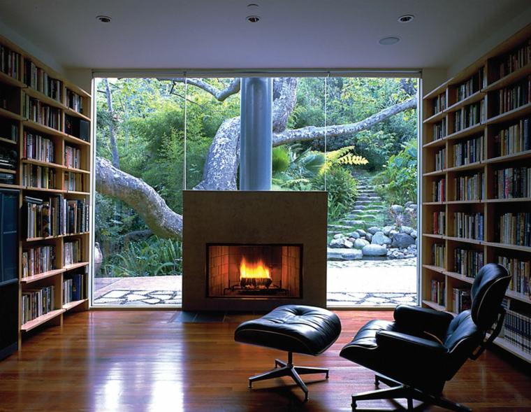 biblioteca de salón moderna