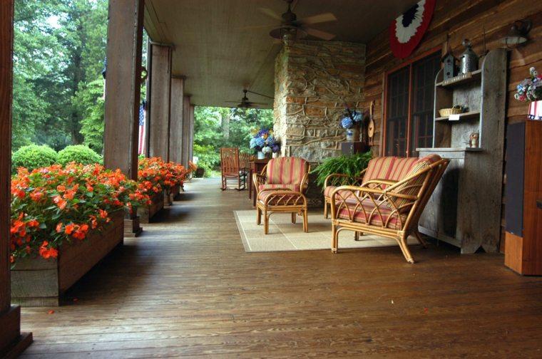 bonita decoración porche madera