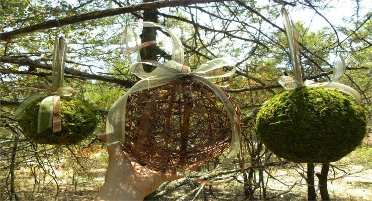 bolas colgantes decorativas musgos