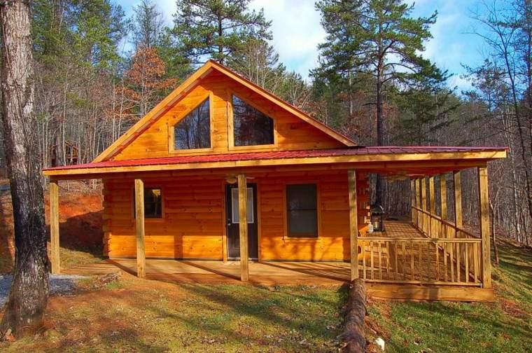 bonita cabaña madera bosque porche