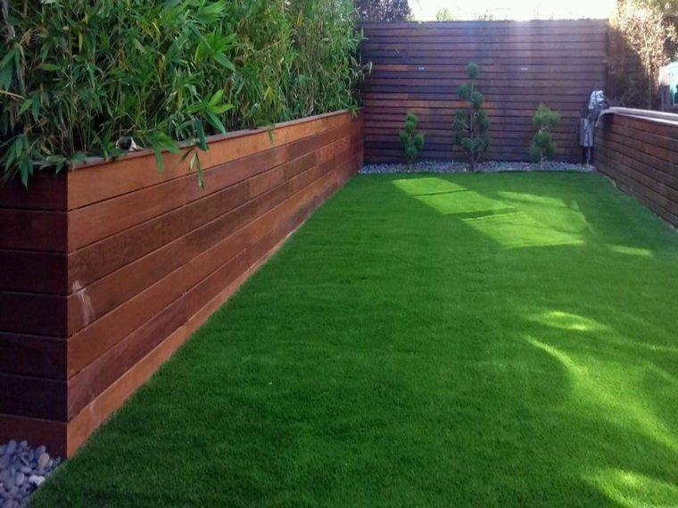 bonita parcela césped jardín verde