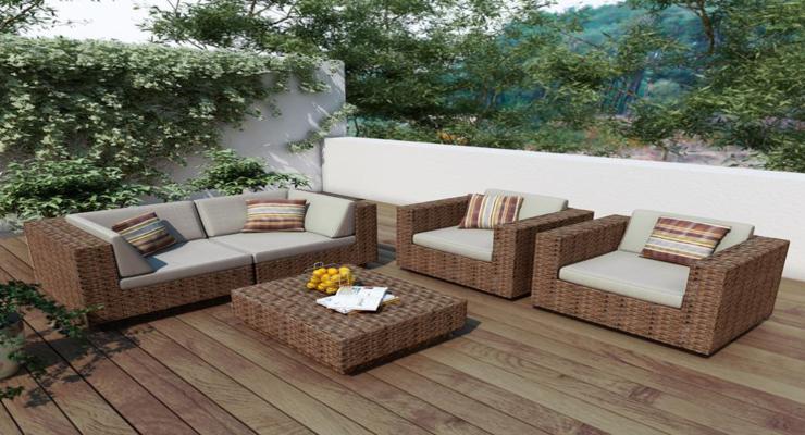Balcones y terrazas peque as cincuenta ideas para decorar for Muebles de terraza rattan