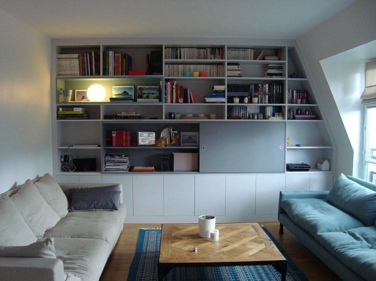 bonito diseño sala estar librería