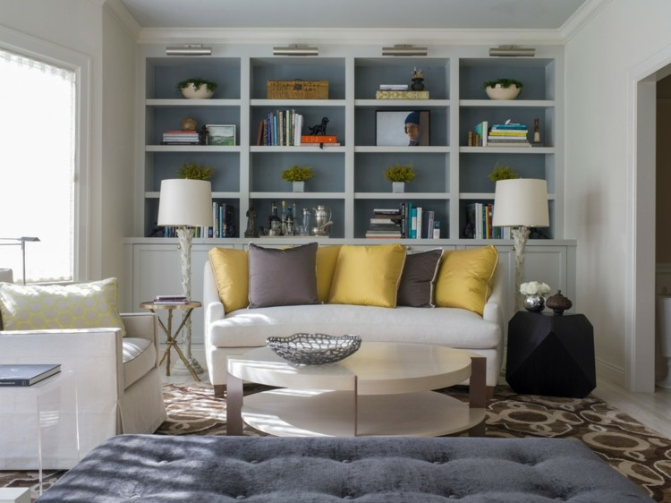 bonito diseño biblioteca salon moderno