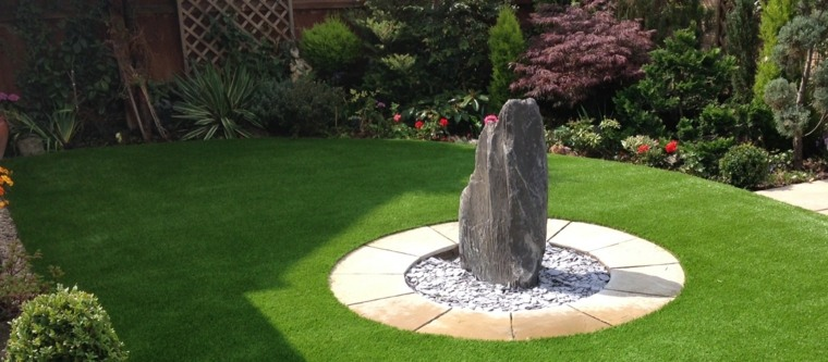 Decoracion de jardines con cesped artificial 50 ideas - Jardin zen diseno ...