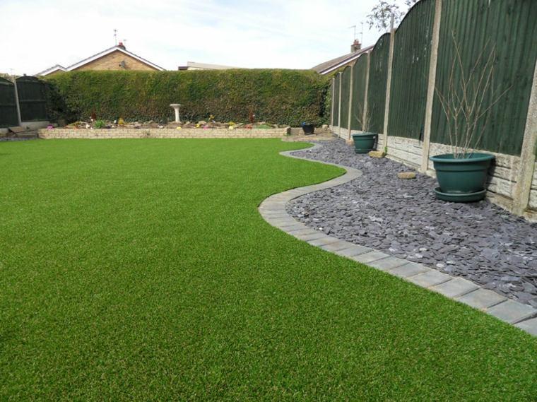 Decoracion de jardines con cesped artificial 50 ideas Ideas para muros de jardin