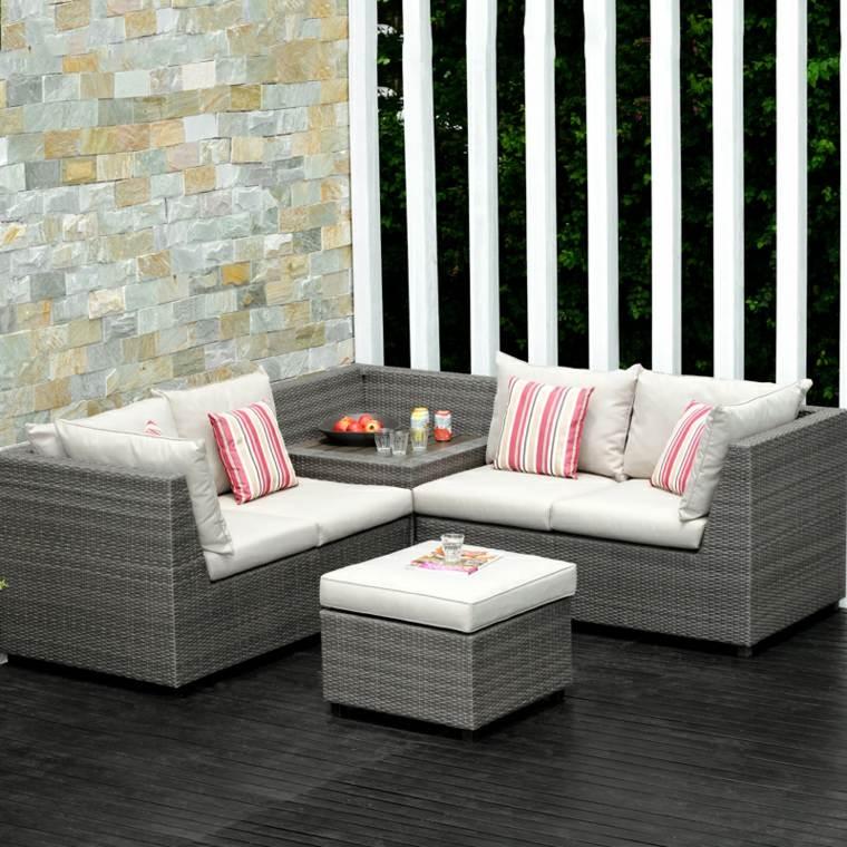 bonito diseño muebles mimbre grises