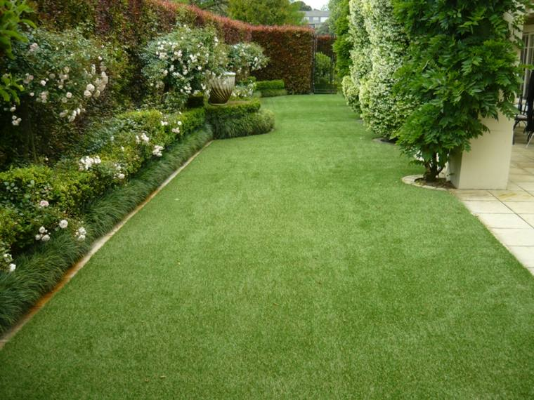 Decoracion de jardines con cesped artificial 50 ideas for Jardin verde