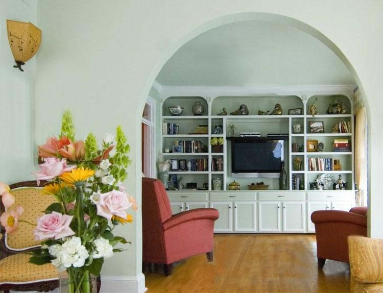 bonito diseño interior pared biblioteca