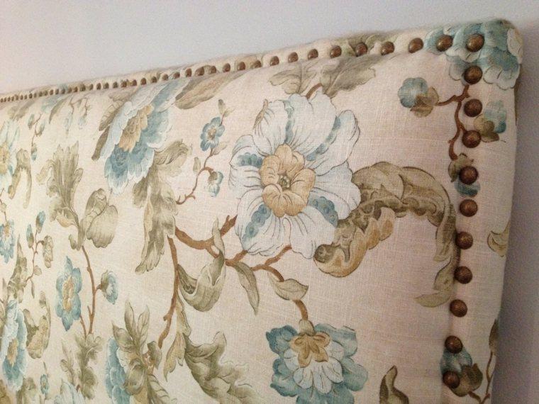 cabecero tapizado tela flores