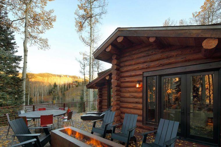 cabaña madera original porche