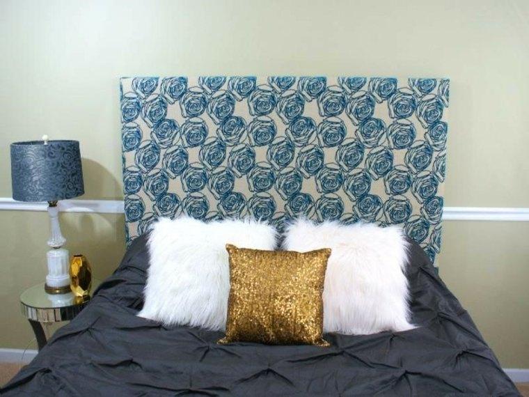 cabecero tapizado tela flores azules