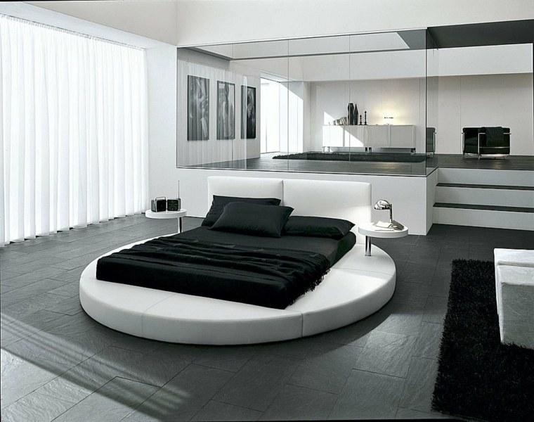 cama redonda blanco negro dormitorio minimalista ideas