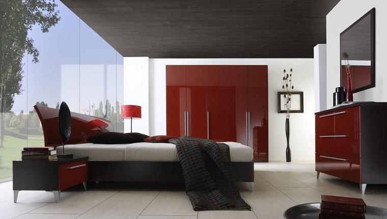 cama respaldo mesita noche armario rojo ideas