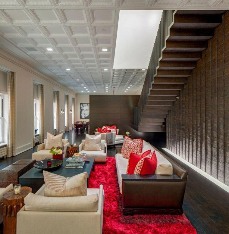 casa decor alfombra cojines rojos muebles comodos ideas