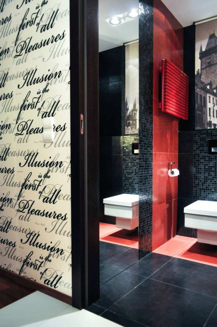 casa decor bano losas roja mosaico negro ideas